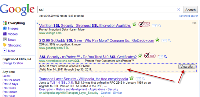Google AdWords Testing View Offer Button