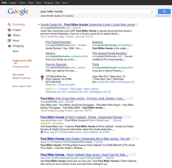 google new sitelinks format example