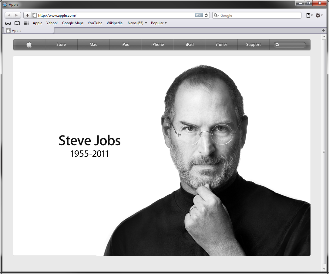 Apple Homepage Steve Jobs RIP