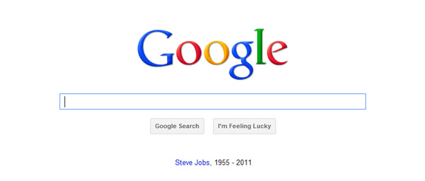 Steve Jobs RIP on Google Homepage